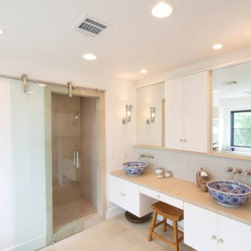 Frameless Dorma Manet Sliding Barn Door at Shower in Bathroom | Sliding Barn Doors | Residential Product Gallery | Anchor-Ventana Glass Company