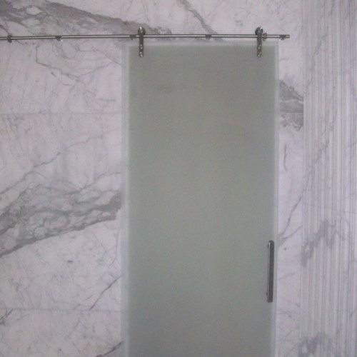 Manet Sliding Barn Style Shower Door with Saten Glass in Bathroom | Sliding Barn Doors | Residential Product Gallery | Anchor-Ventana Glass Company