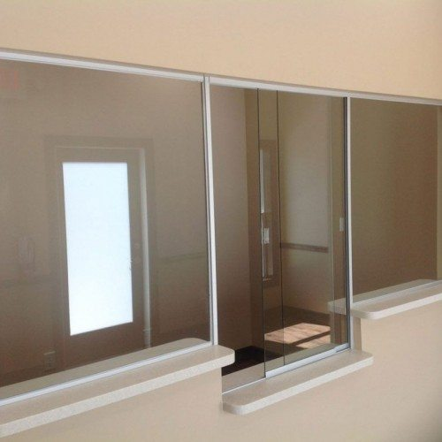 Interior View of Glass Partition | Counter Partitions & Pass-Thru Gallery | Interior Glass Products | Anchor-Ventana Glass