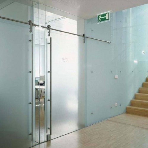 Frosted Sliding Interior Door | Entrances Gallery | Commercial Products | Anchor-Ventana Glass