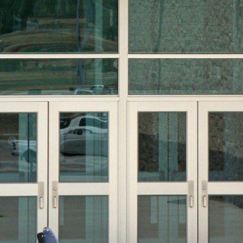 Exterior Closeup View of Commercial Storefront and Doors | Commercial Storefronts | Commercial Products | Anchor-Ventana Glass