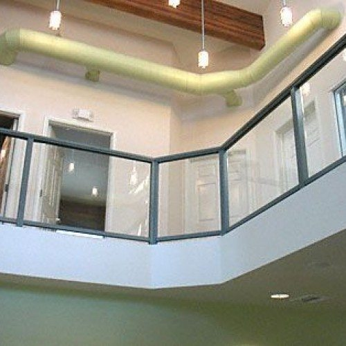 Glass Handrail in Modern Industrial Space | Commercial Glass Handrails | Commercial Products | Anchor-Ventana Glass