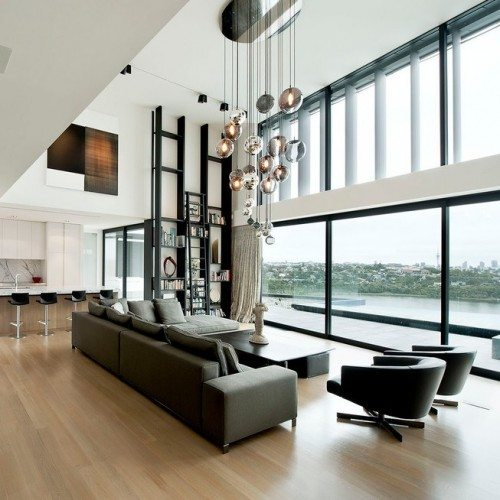 Butt Glazed Glass Wall System in Living Room | Glass Wall Systems Gallery | Residential Products | Anchor-Ventana Glass
