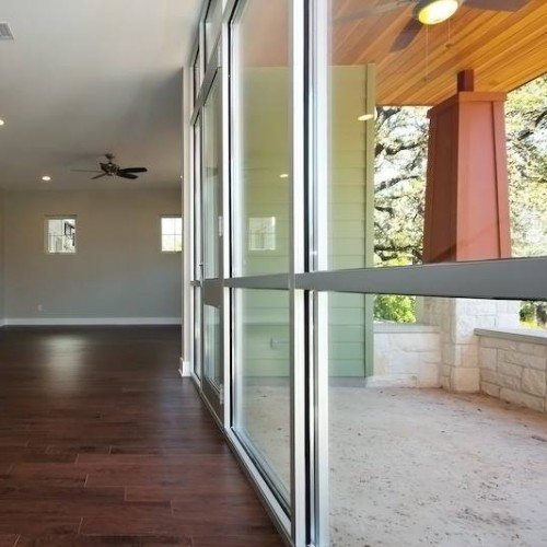 Side angle of Glass Wall System as Entry with Door | Glass Wall Systems Gallery | Residential Products | Anchor-Ventana Glass