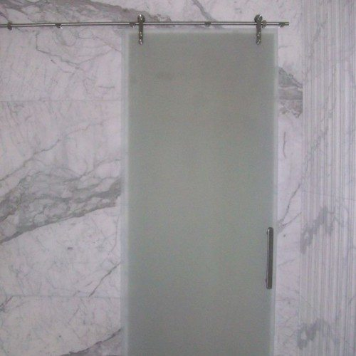 Manet Sliding Barn Style Shower Door with Saten Glass in Bathroom | Glass Wall Systems Gallery | Residential Products | Anchor-Ventana Glass