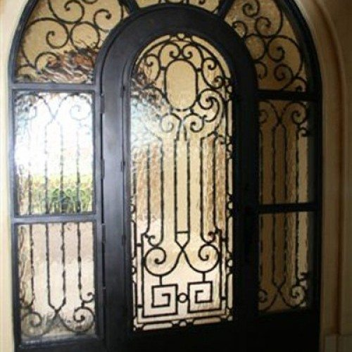 Flemish Glass Set in Custom Wrought Iron Entry Door & Sidelights | Glass Wall Systems Gallery | Residential Products | Anchor-Ventana Glass