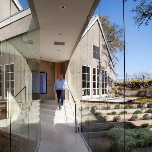 Butt Glazed Walls & Handrail at Entry | Glass Wall Systems Gallery | Residential Products | Anchor-Ventana Glass