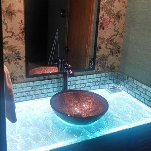 Back Lit Glass Countertop in Bathroom   Glass Countertops / Table Tops Gallery   Residential Products   Anchor-Ventana Glass