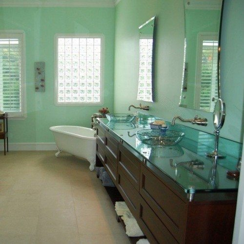 Hour Glass Beveled Mirrors Set with Standoff Bases and Caps in Bathroom | Glass Countertops / Table Tops Gallery | Residential Products | Anchor-Ventana Glass
