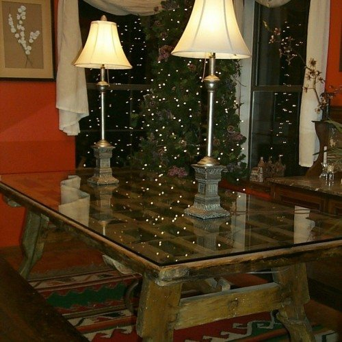 Clear Glass Top to Protect Dining Room Table Made From Re-purposed Antique Door | Glass Countertops / Table Tops Gallery | Residential Products | Anchor-Ventana Glass