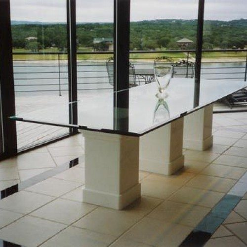 Clear Glass Table Top with Beveled Edge in Dining Room | Glass Countertops / Table Tops Gallery | Residential Products | Anchor-Ventana Glass
