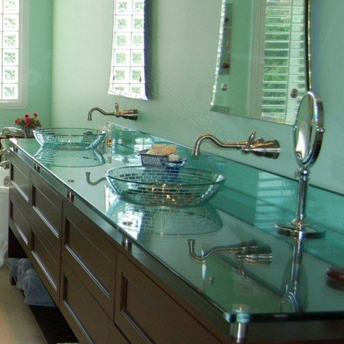 Glass Vanity top Set with Standoff Bases and Caps at Bathroom | Glass tops / Table Tops Gallery | Residential Products | Anchor-Ventana Glass