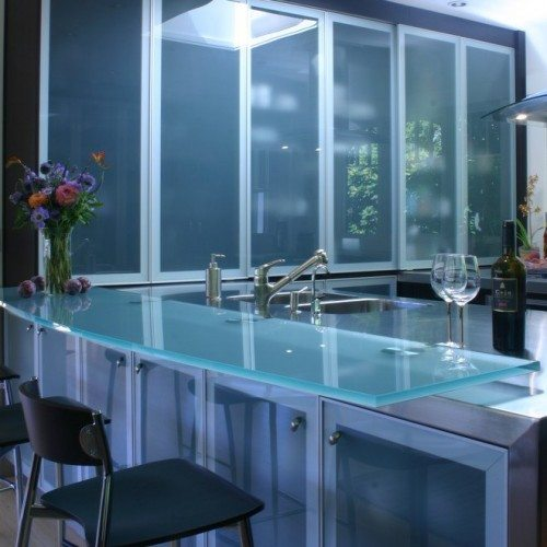Saten Cabinet Glass & Saten Glass Countertop with Standoff Bases at Kitchen | Glass Countertops / Table Tops Gallery | Residential Products | Anchor-Ventana Glass