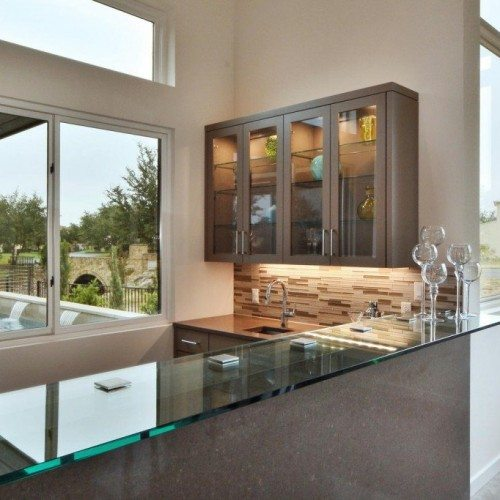 Glass Countertop Set with Square Standoff Bases and Caps at Kitchen Bar | Glass Countertops / Table Tops Gallery | Residential Products | Anchor-Ventana Glass