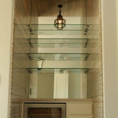 Interior Floating Glass Shelves in Nook | Cabinet Glass & Shelves Gallery | Residential Products | Anchor-Ventana Glass