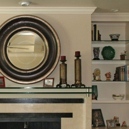 Double Glass Mantle with Standoff Bases and Caps in Living Room; Glass Shelves; Custom Framed Mirror | Cabinet Glass & Shelves Gallery | Residential Products | Anchor-Ventana Glass