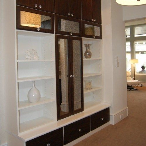Antique Mirror Cabinet Fronts in Living Room | Cabinet Glass & Shelves Gallery | Residential Products | Anchor-Ventana Glass