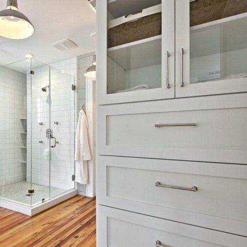 Frameless Corner Shower, Clear Cabinet Glass and Framed Mirror | Cabinet Glass & Shelves Gallery | Residential Products | Anchor-Ventana Glass