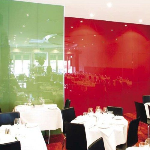 Green & Red Back Painted Glass Wall Partitions | Colored Glass Gallery | Residential Products | Anchor-Ventana Glass