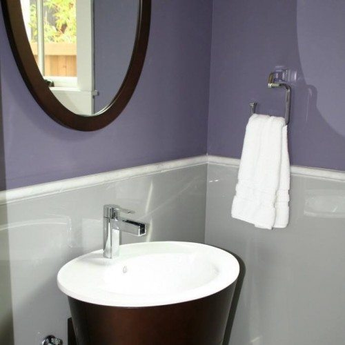 Back Painted Glass Wainscoting with Holes for Plumbing in Powder Bath | Colored Glass Gallery | Residential Products | Anchor-Ventana Glass