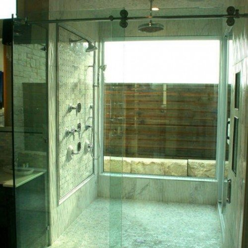Frameless Sliding Shower Enclosure in Bathroom Framed with Glass Window | Sliding Shower Enclosures Gallery | Residential Products | Anchor-Ventana Glass