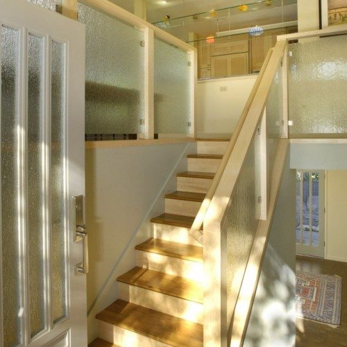 Rain Glass Set in Front Door and Stair Railing at Entry | Glass Handrail Systems | Residential Gallery | Anchor-Ventana Glass