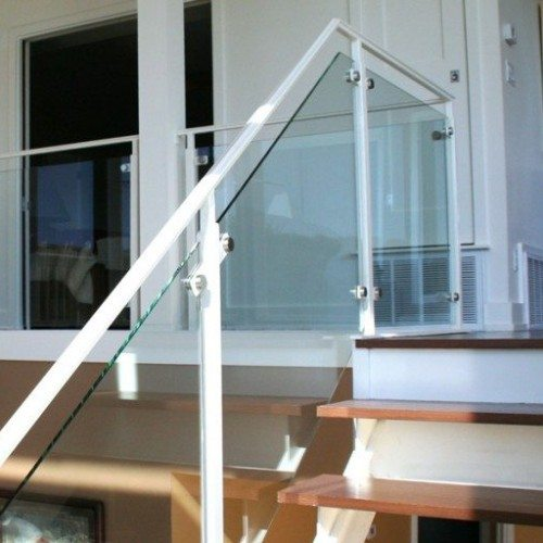 Clear Glass Handrail with Standoff Caps in Stairway & Landing | Glass Handrail Systems | Residential Gallery | Anchor-Ventana Glass