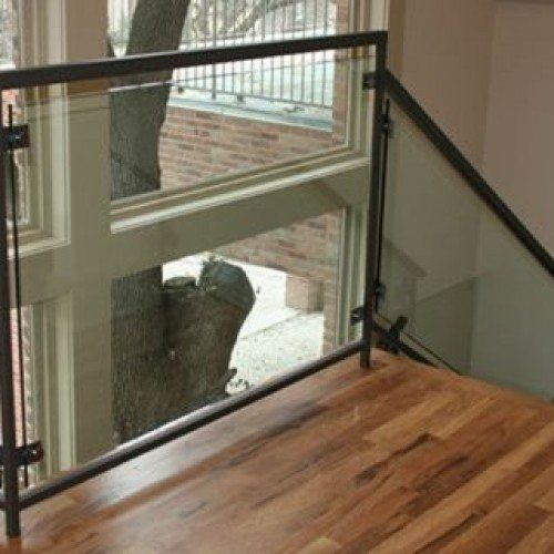 Custom Glass Handrail with Clamps in Stairway | Glass Handrail Systems | Residential Gallery | Anchor-Ventana Glass