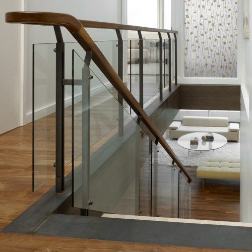 3-Form Leaf EcoResin Panel and Glass Handrail set with Standoff Caps in Stairway | Glass Handrail Systems | Residential Gallery | Anchor-Ventana Glass