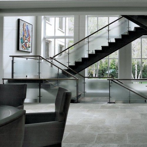 Saten Glass Handrail set with Standoff Caps in Stairway | Glass Handrail Systems | Residential Gallery | Anchor-Ventana Glass