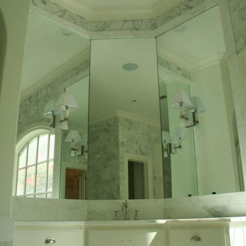 Three Frameless Mirror Panels in Bathroom | Mirrors Gallery | Anchor-Ventana Glass