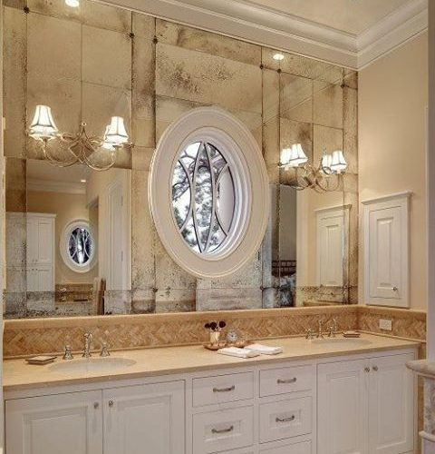 Clear & Antique Mirror with Rosettes in Bathroom | Mirrors Gallery | Anchor-Ventana Glass