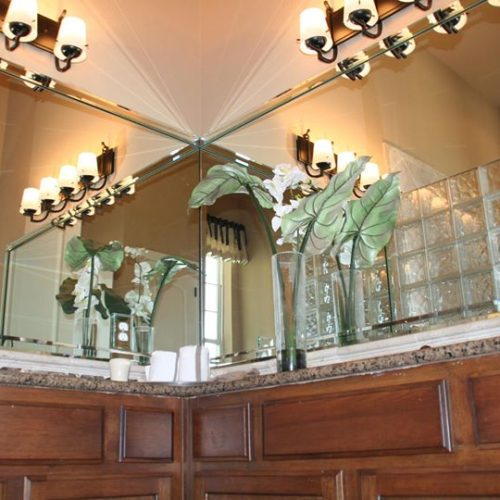 Vanity Mirror with Bevel Strips in Bathroom | Mirrors Gallery | Anchor-Ventana Glass