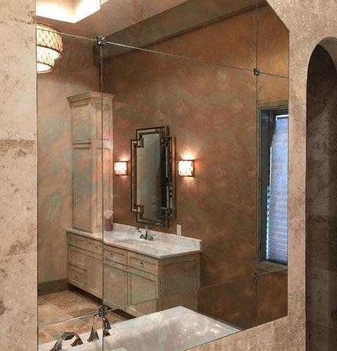 Frameless Antique Mirror in Bathroom Above Bathtub | Mirrors Gallery | Anchor-Ventana Glass