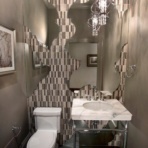 Custom Cut Mirror in Powder Bathroom | Mirrors Gallery | Anchor-Ventana Glass