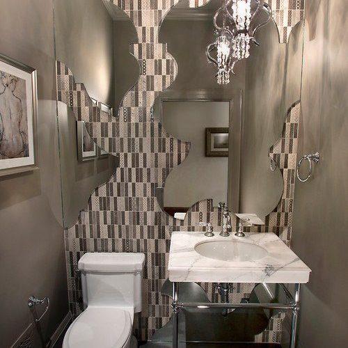 Custom Cut Mirror in Powder Bathroom | Mirrors Gallery | Anchor-Ventana Glass