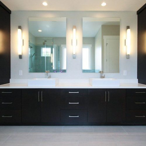 Frameless Double Vanity in Bathroom | Gallery | Anchor-Ventana Glass