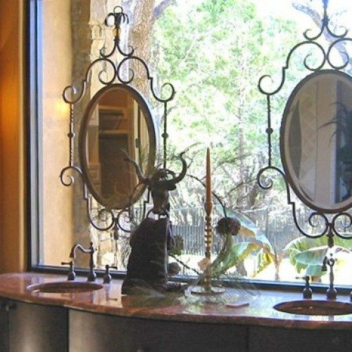 Framed Mirrors Set in Window Glass with Standoffs in Bathroom | Mirrors Gallery | Anchor-Ventana Glass