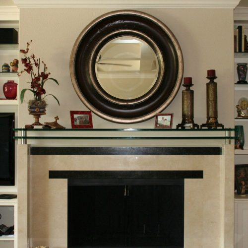 Double Glass Mantle Set with Standoffs and Clamps in Living Room; Custom Framed Mirror | Mirrors Gallery | Anchor-Ventana Glass