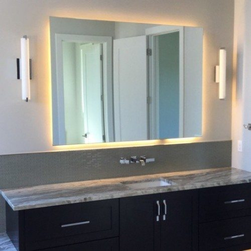 3D Backlit Frameless Mirror in Bathroom | Mirrors Gallery | Anchor-Ventana Glass