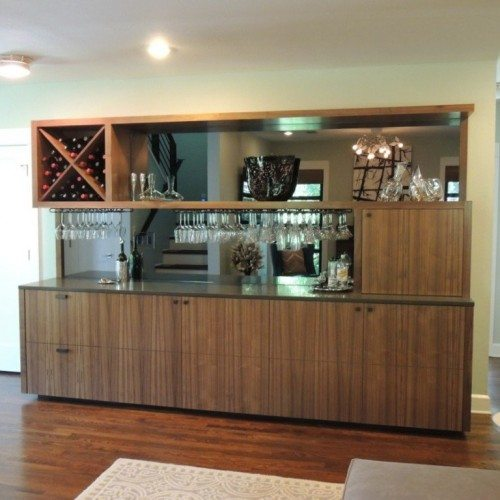 Mirror Backing in Bar Cabinet in Den | Mirrors Gallery | Anchor-Ventana Glass