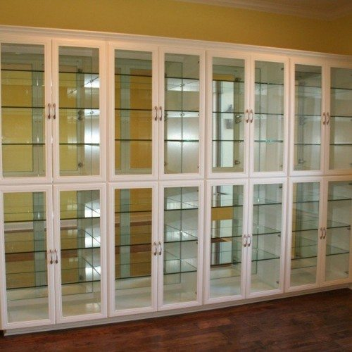 Mirror-Backed Glass Shelves Inside Glass Front Display Case in Dining Room | Mirrors Gallery | Anchor-Ventana Glass