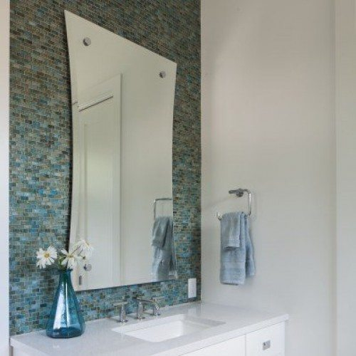 Hour Glass Beveled Mirror Set with Standoff Caps in Bathroom | Mirrors Gallery | Anchor-Ventana Glass