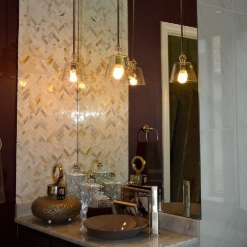 Frameless Mirror in Powder Bathroom | Mirrors Gallery | Anchor-Ventana Glass