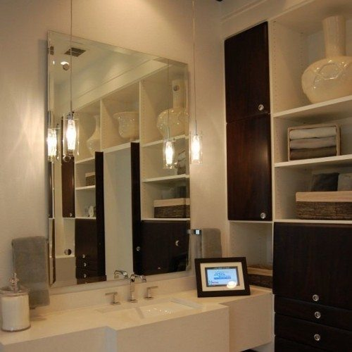 Frameless Mirror with Bevel Set with Standoff Bases & Caps in Bathroom | Mirrors Gallery | Anchor-Ventana Glass