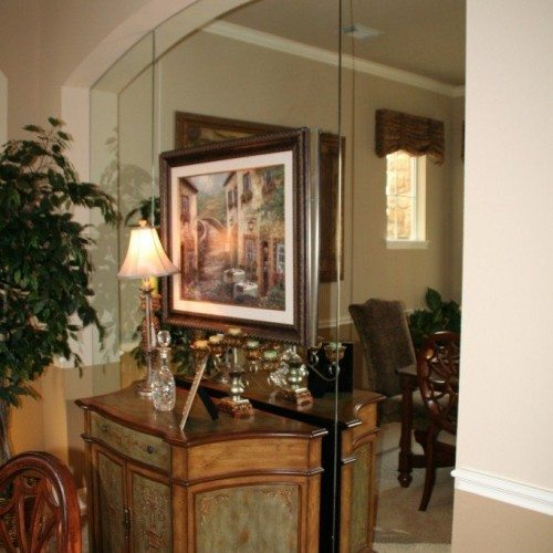 Arched Frameless Mirror in Dining Room | Mirrors Gallery | Anchor-Ventana Glass
