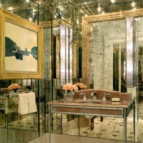 Antique Mirror Walls in Powder Room | Mirrors Gallery | Anchor-Ventana Glass