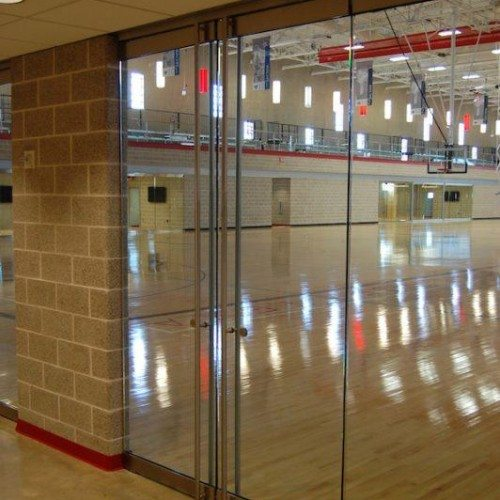 Interior View of Heavy Glass Doors | Round Rock Sports Center | Commercial Projects | Anchor-Ventana