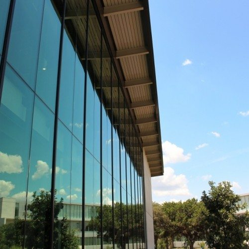 Exterior View of Curtain Wall System | Munday Library at St. Edwards University | Commercial | Anchor-Ventana