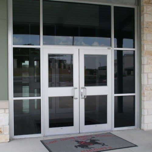 Exterior View of Glass Storefront Entrance Doors | Lake Travis Middle School | Commercial Projects | Anchor-Ventana